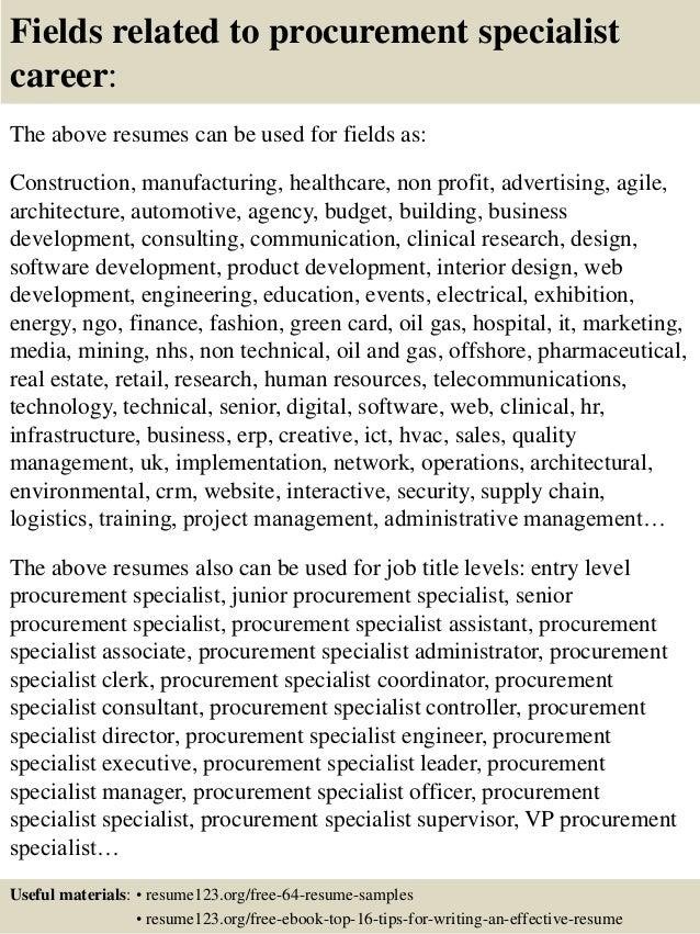 Procurement Specialist Resumes. application specialist sample ...