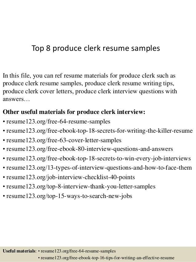 Top 8 Produce Clerk Resume Samples 1 638.