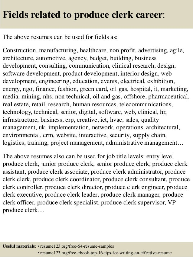 16 Fields Related To Produce Clerk