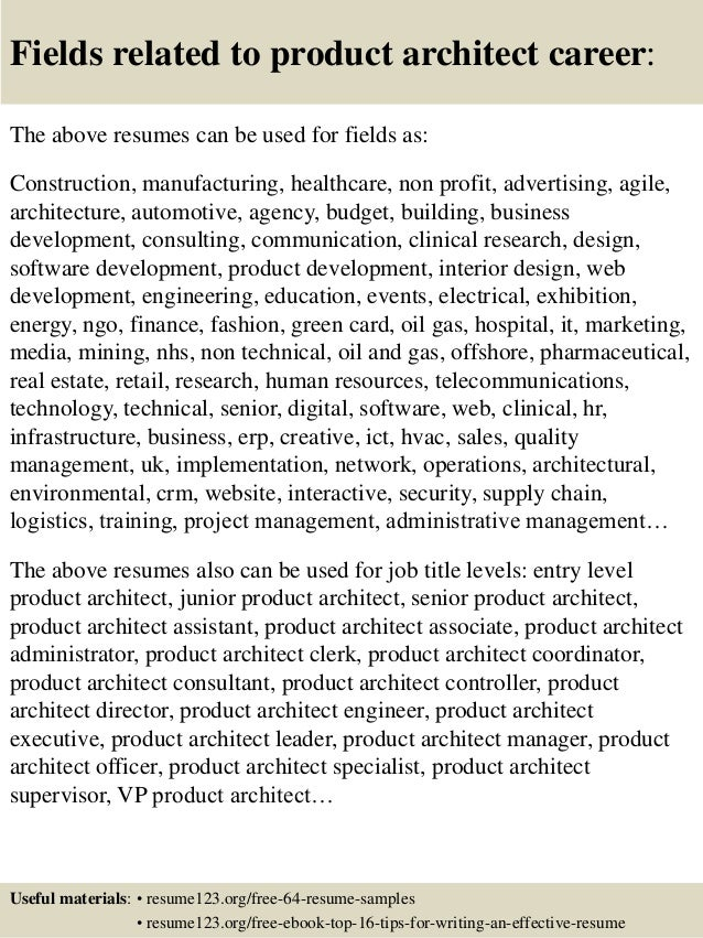 16 fields related to product - Product Consultant Sample Resume