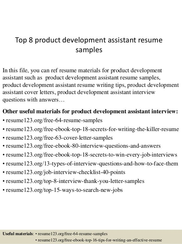 Top 8 Product Development Assistant Resume Samples In This File, You Can  Ref Resume Materials ...