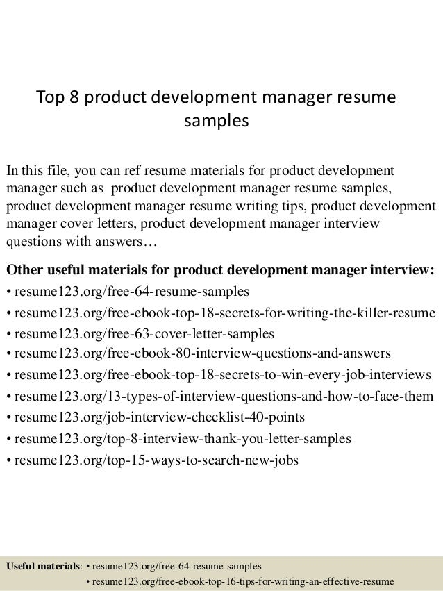 Top 8 Product Development Manager Resume Samples In This File, You Can Ref  Resume Materials ...  Development Manager Resume