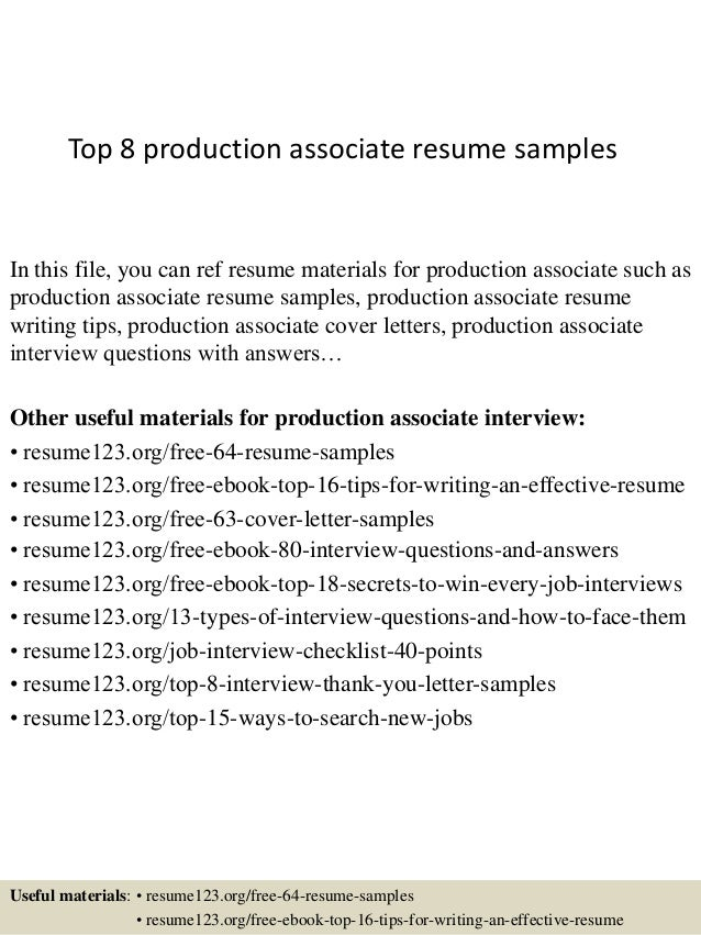 Top 8 Production Associate Resume Samples In This File, You Can Ref Resume  Materials For ...