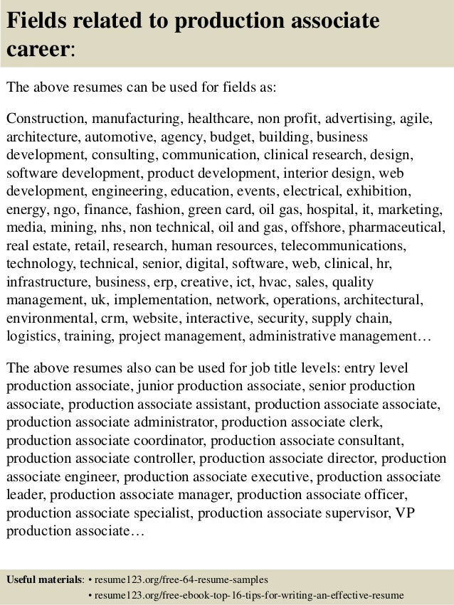 top 8 production associate resume samples - Production Associate Job Description