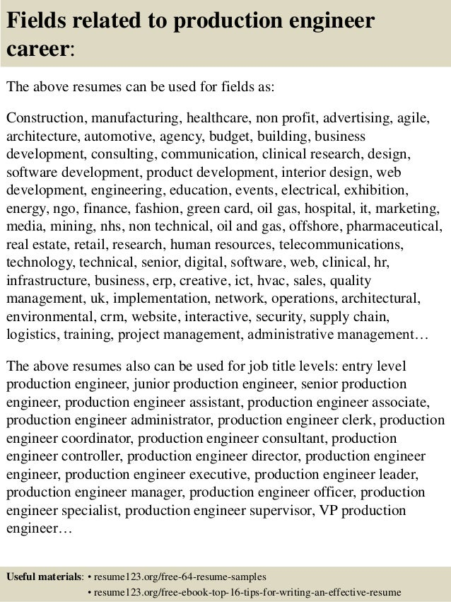 16 fields related to production engineer - Post Production Engineer Sample Resume