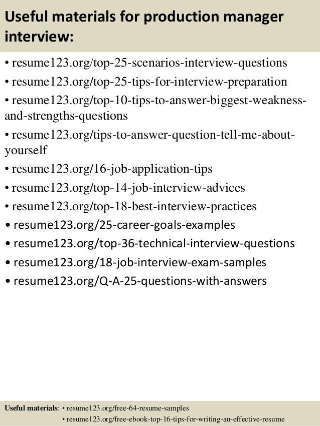 Sample Production Manager Resume | Resume CV Cover Letter