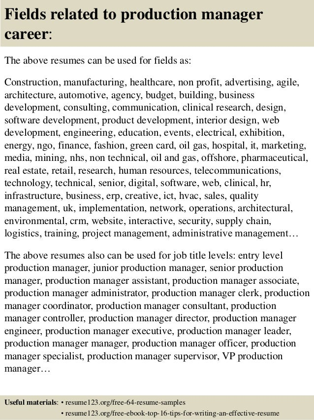 16 fields related to production manager career the above resumes - Production Manager Resume Samples