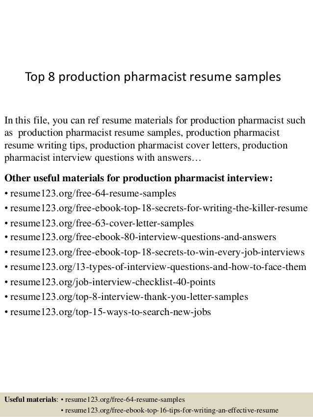 top 8 production pharmacist resume samples