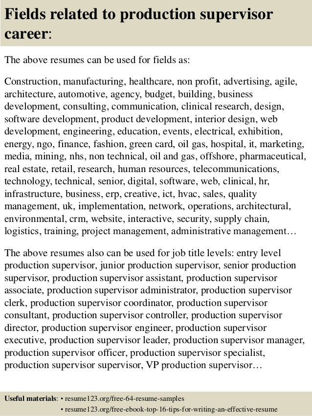 16 fields related to production supervisor - Manufacturing Supervisor Resume