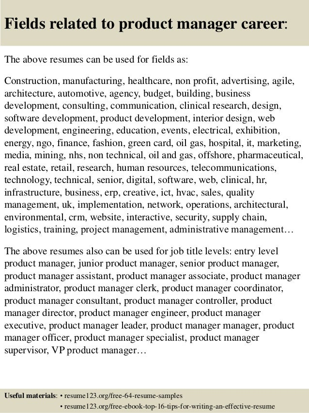 Top 8 Product Manager Resume Samples