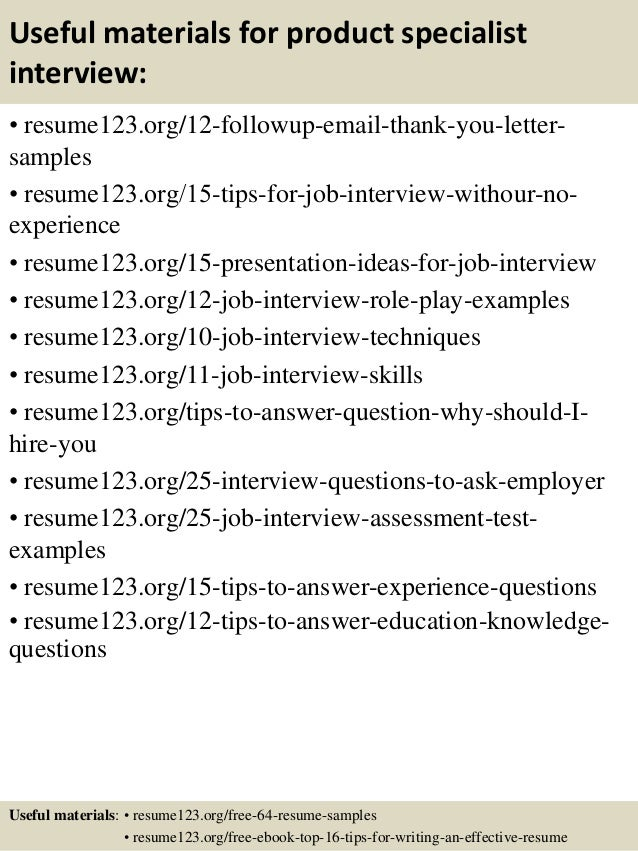 product specialist resume samples