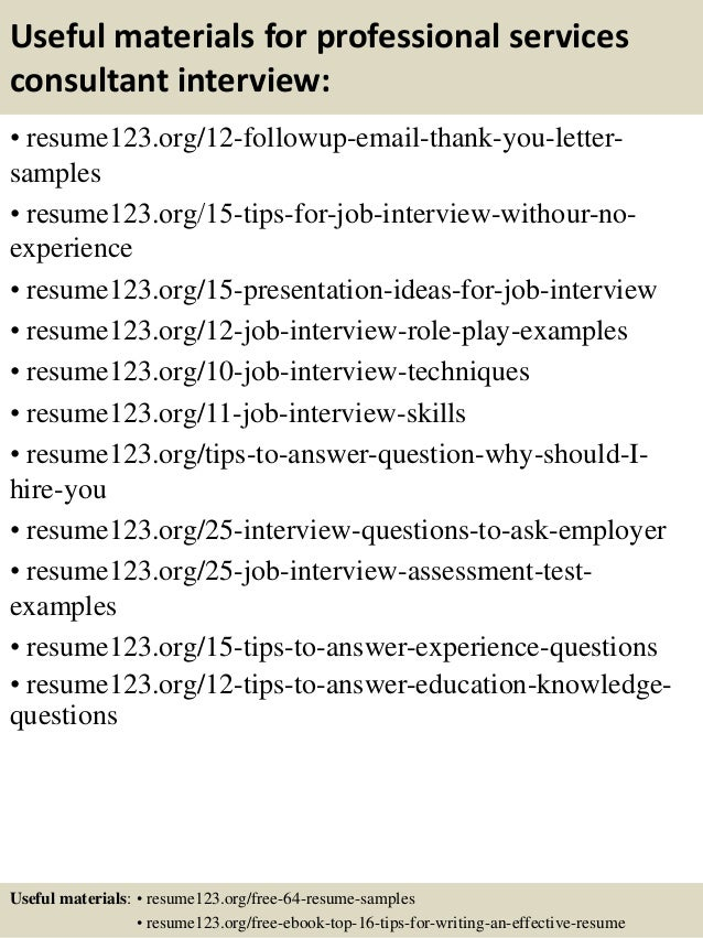 14 useful materials for professional services consultant - Professional Services Consultant Sample Resume