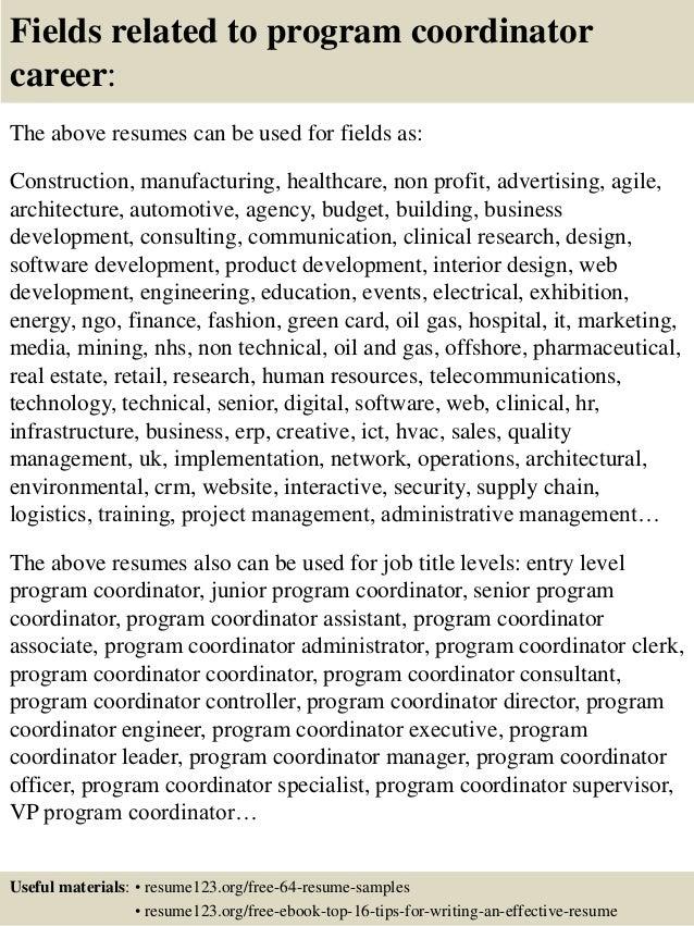 top 8 program coordinator resume samples - Sample Youth Program Coordinator Resume
