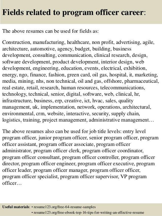 top 8 program officer resume samples