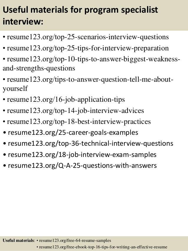 top 8 program specialist resume samples