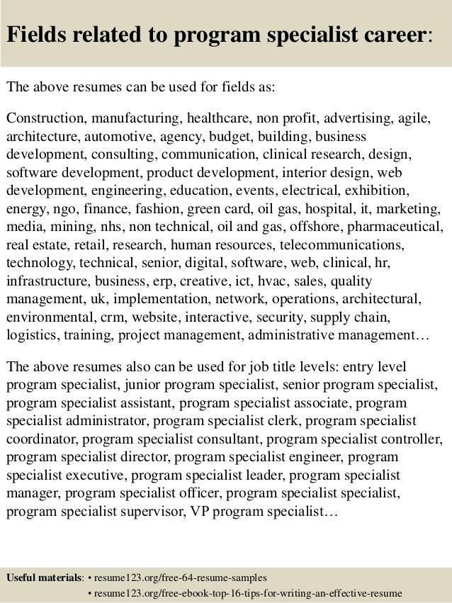 ... 16. Fields related to program specialist ...
