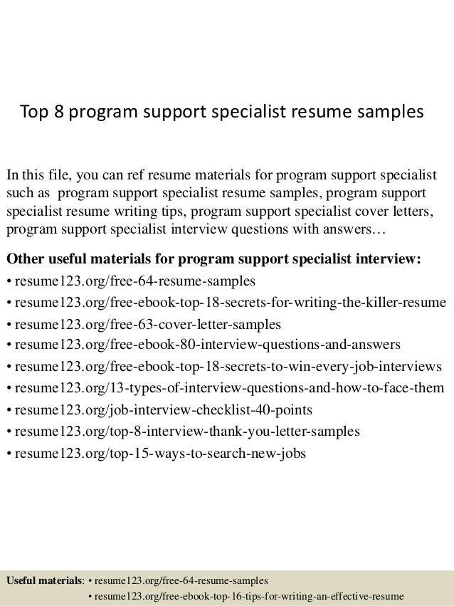 top 8 program support specialist resume samples 1 638 jpg cb 1432821215