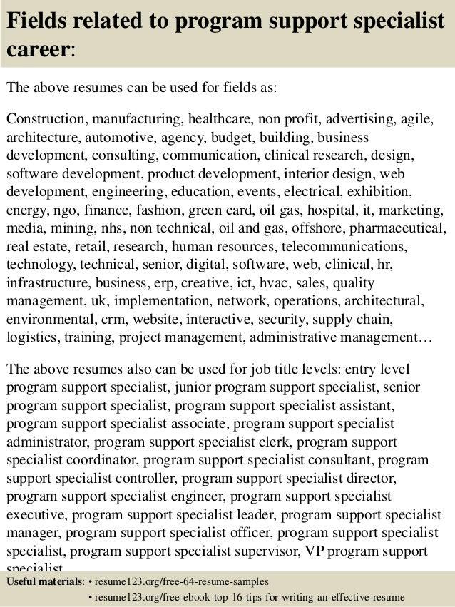 Top 8 program support specialist resume samples