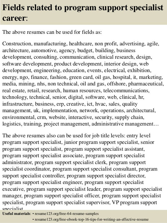 top 8 program support specialist resume samples