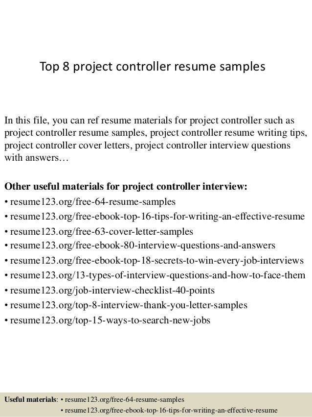 Top 8 Project Controller Resume Samples In This File, You Can Ref Resume  Materials For ...