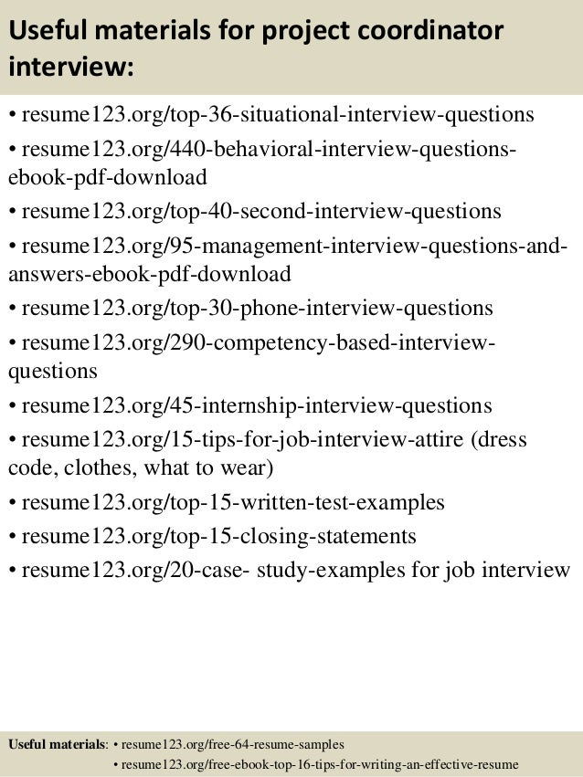 ... 12. Useful Materials For Project Coordinator ...  Sample Project Coordinator Resume