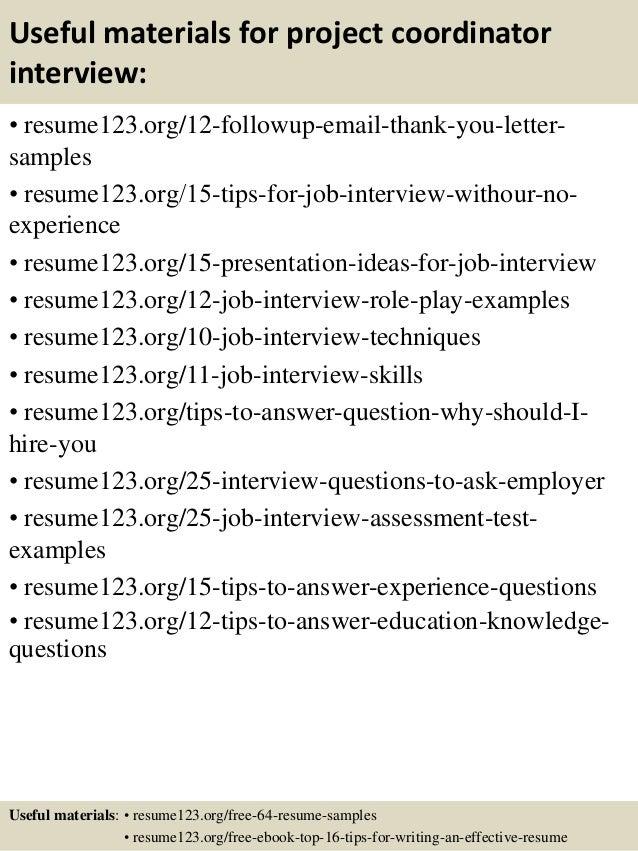 project coordinator resume samples