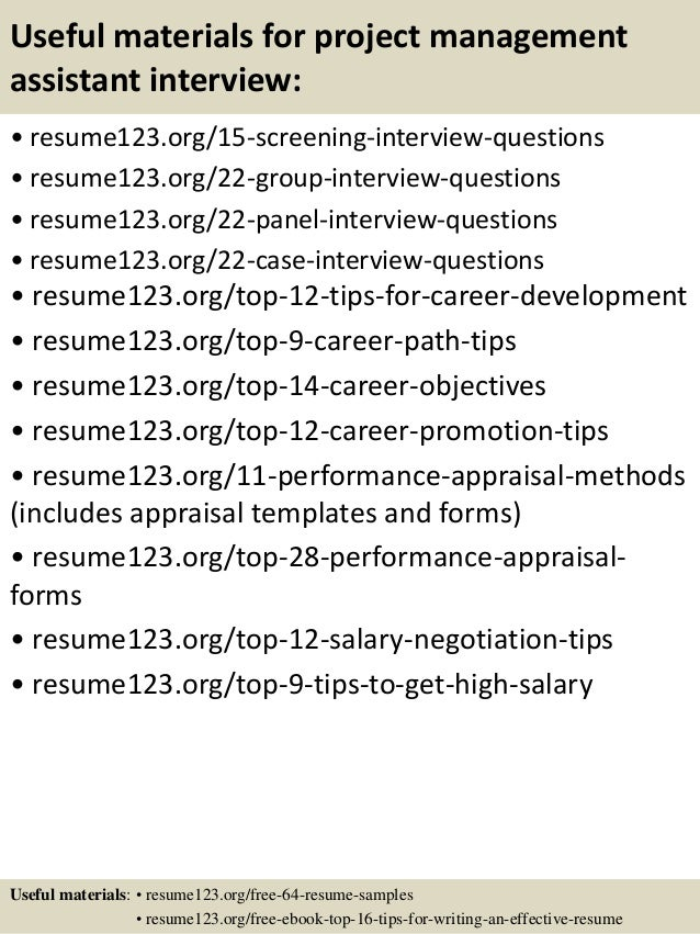 Top 8 project management assistant resume samples