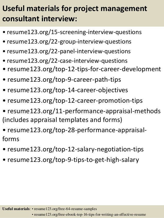 top 8 project management consultant resume samples