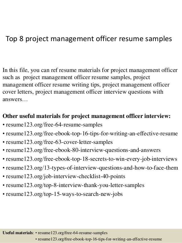 top 8 project management officer resume samples