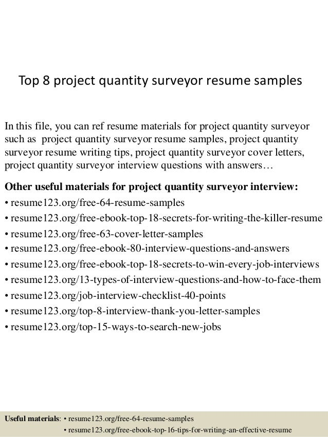 Top 8 project quantity surveyor resume samples top 8 project quantity surveyor resume samples in this file you can ref resume materials spiritdancerdesigns Gallery