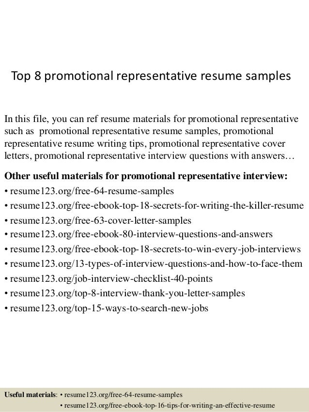 Top 8 promotional representative resume samples 1 638gcb1432804574 top 8 promotional representative resume samples in this file you can ref resume materials for fandeluxe Image collections