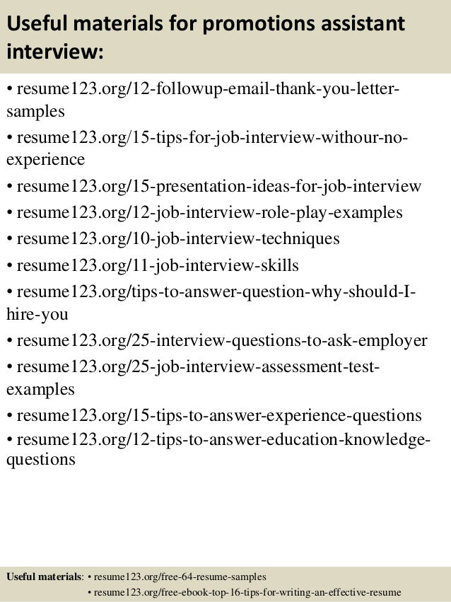 top 8 promotions assistant resume samples