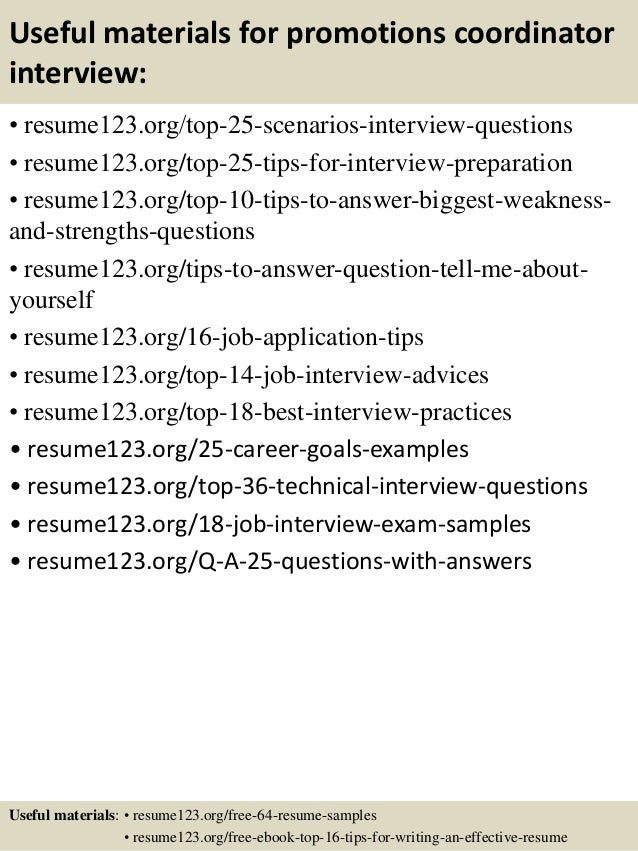 Top 8 Promotions Coordinator Resume Samples