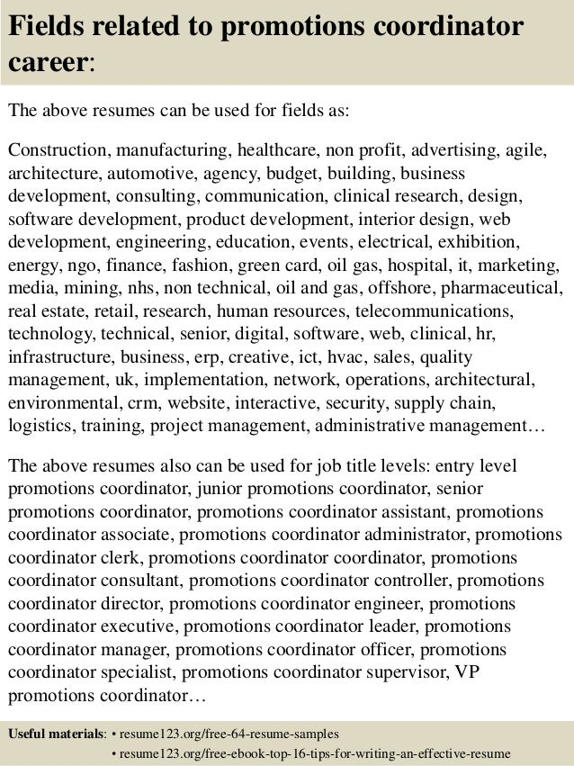 promotions resume sample