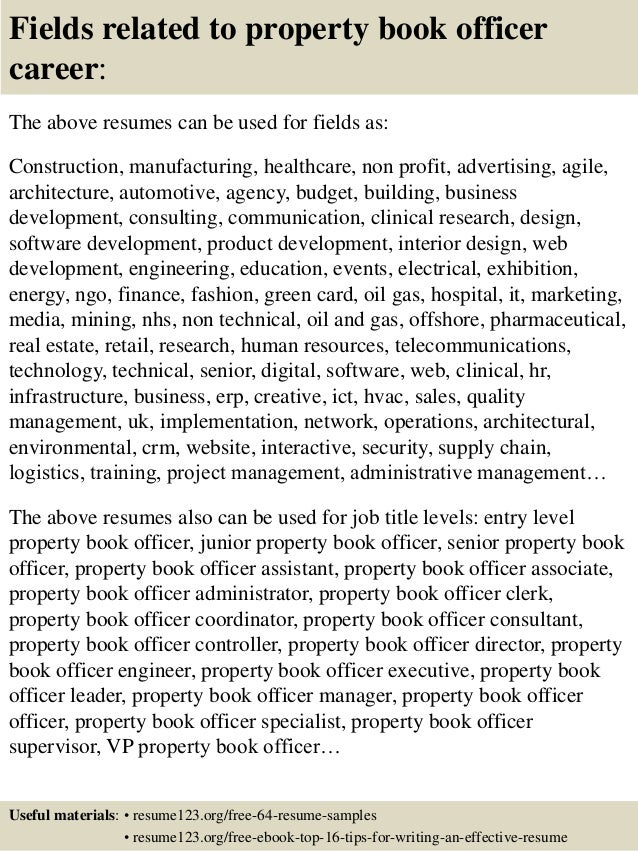 Fields related to property book officer .