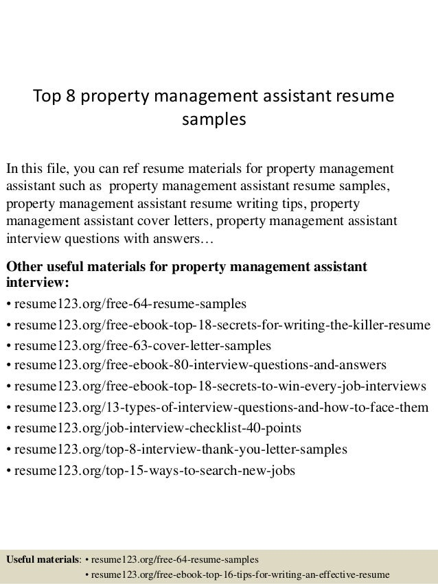 top 8 property management assistant resume sles
