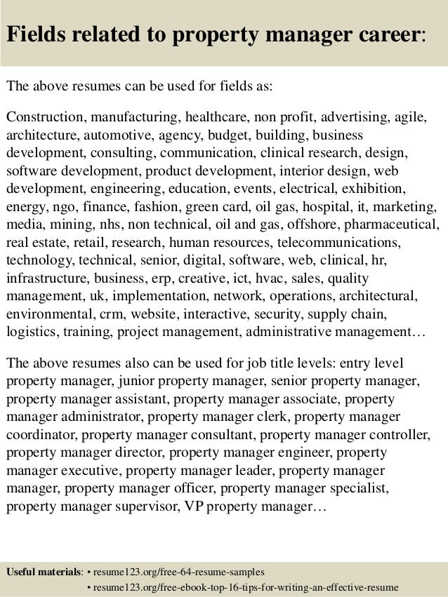16 fields related to property manager career the above resumes - Property Manager Resume Samples