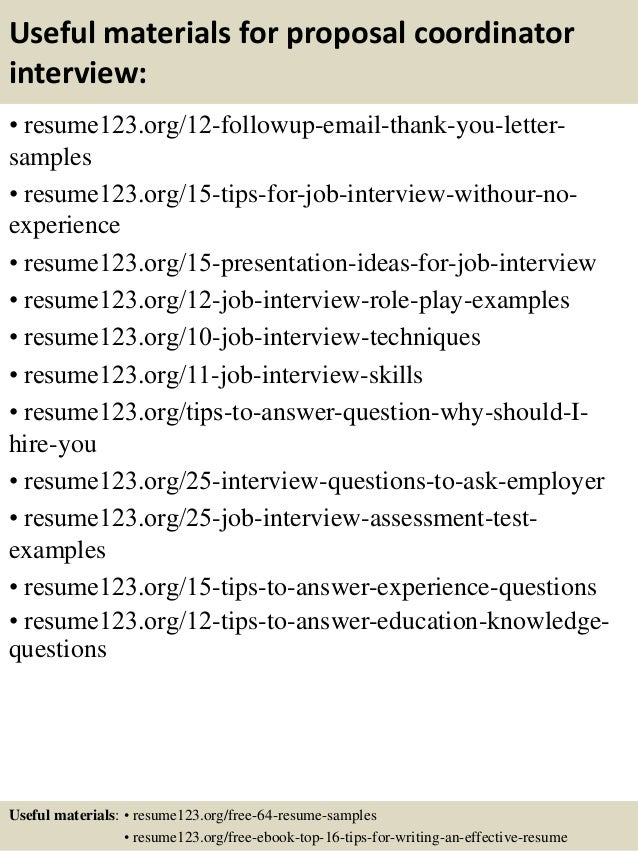 ... 14. Useful materials for proposal coordinator ...
