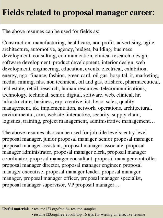 Proposal Coordinator Resume Example Simple Instruction Guide Books