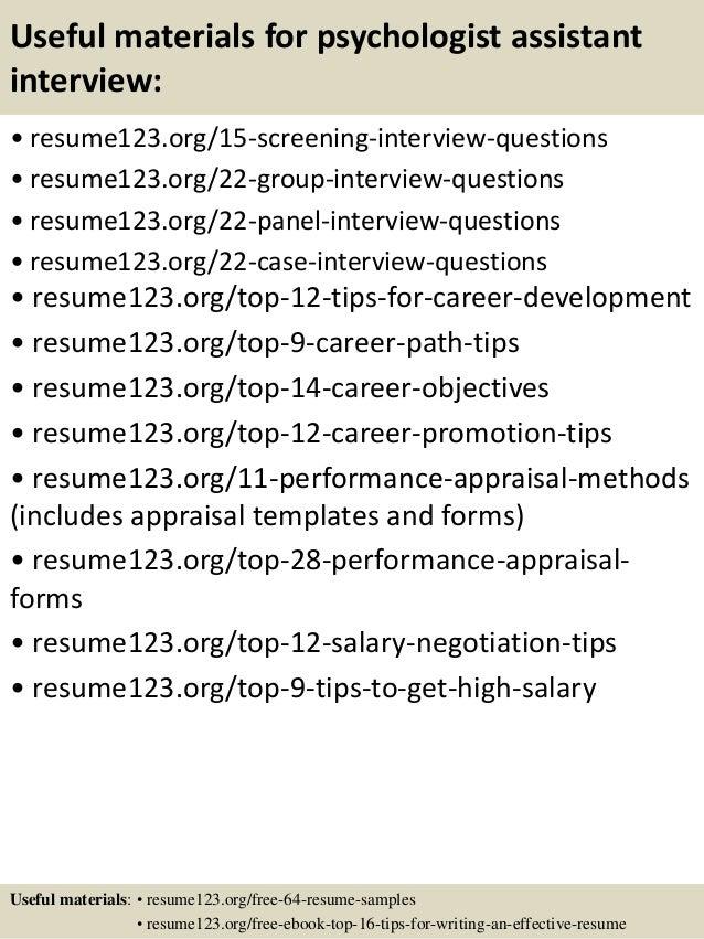 Top 8 psychologist assistant resume samples