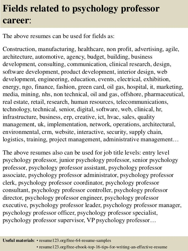 16 fields related to psychology