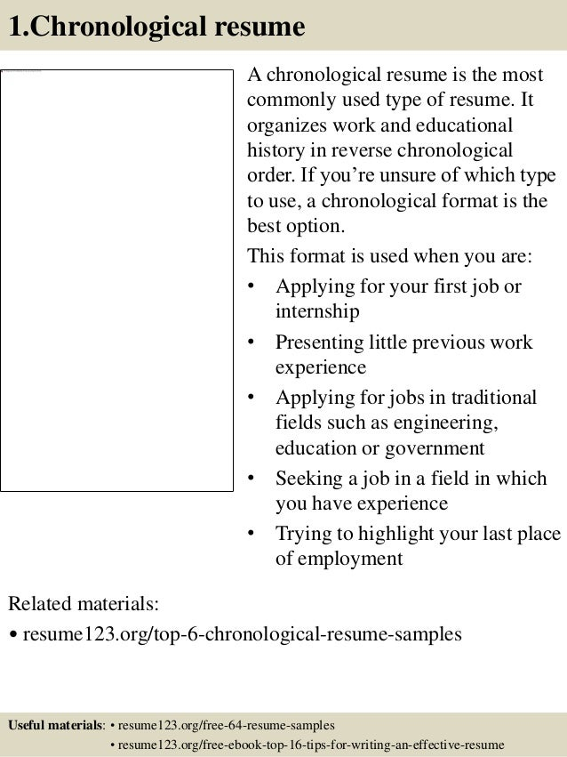chronological format resume example