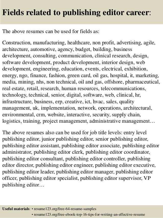 top 8 publishing editor resume samples