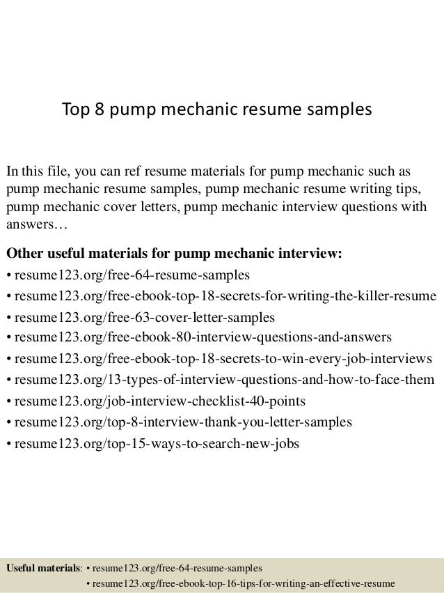 Top 8 Pump Mechanic Resume Samples