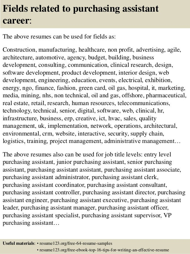 16 fields related to purchasing - Purchasing Resume Objective