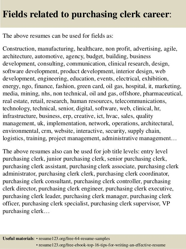 Purchasing Clerk Sample Resume] Top 8 Purchasing Clerk ...