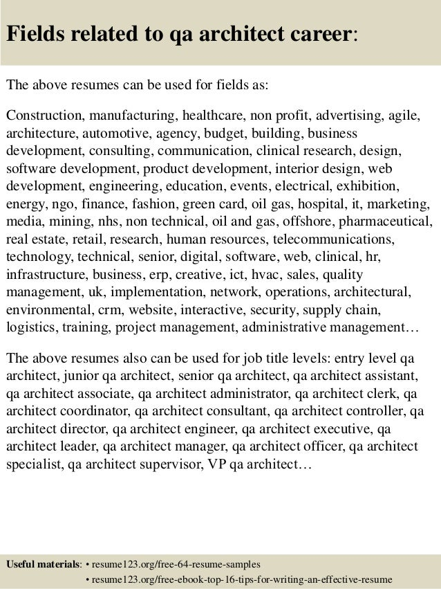 qa architect resume