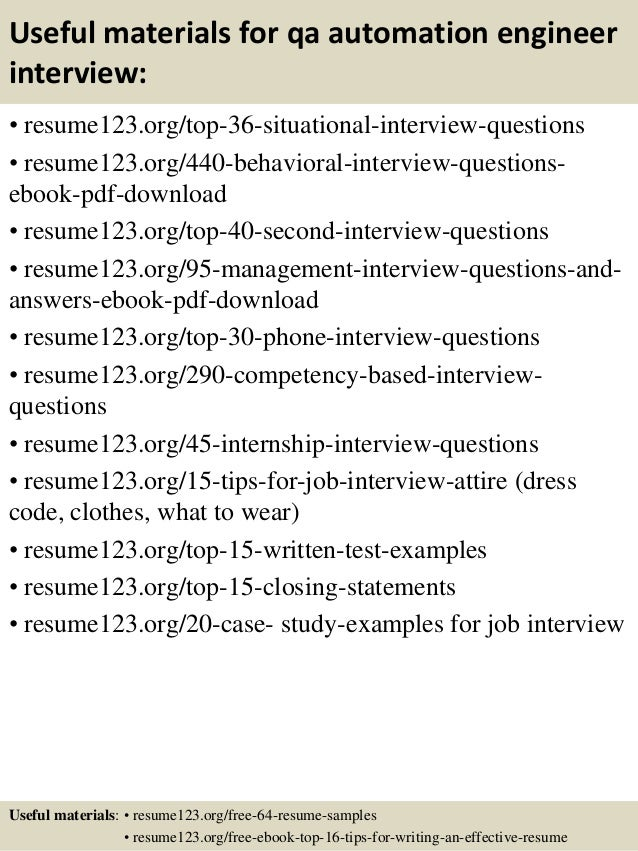 12 useful materials for qa - Sample Qa Resume