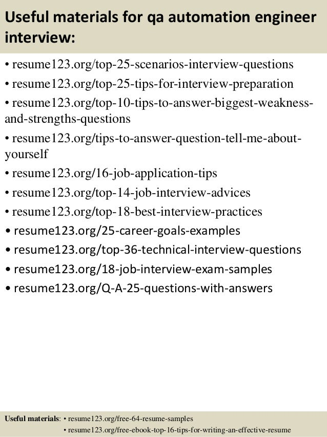 13 useful materials for qa automation engineer - Automation Engineer Sample Resume