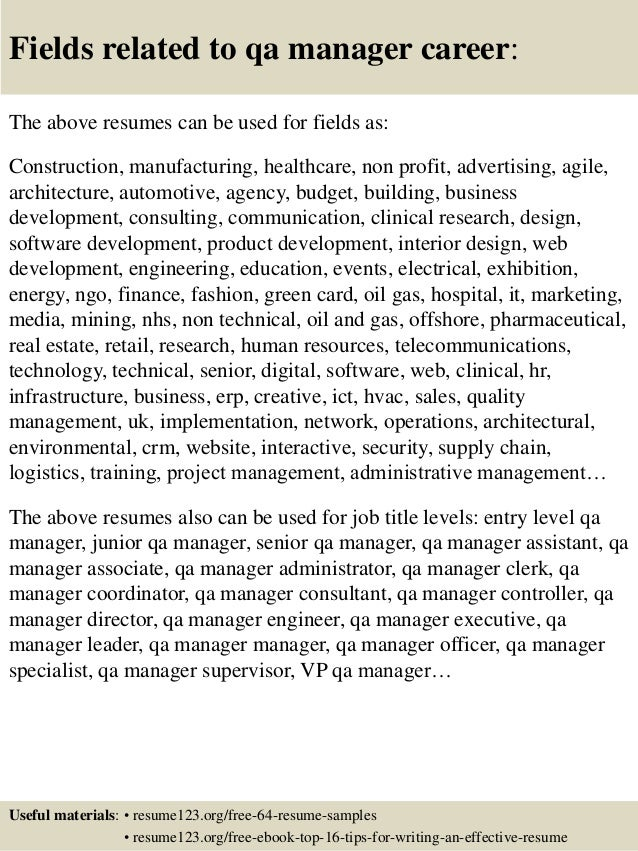 16 fields related to qa manager